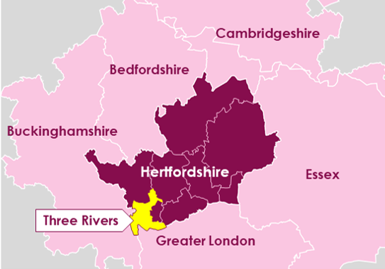 Map of the county of Hertfordshire