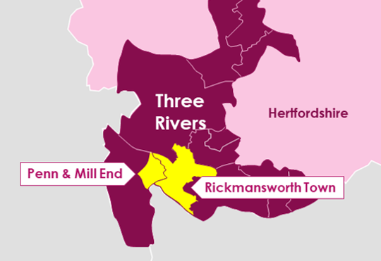 Map of Three Rivers Wards